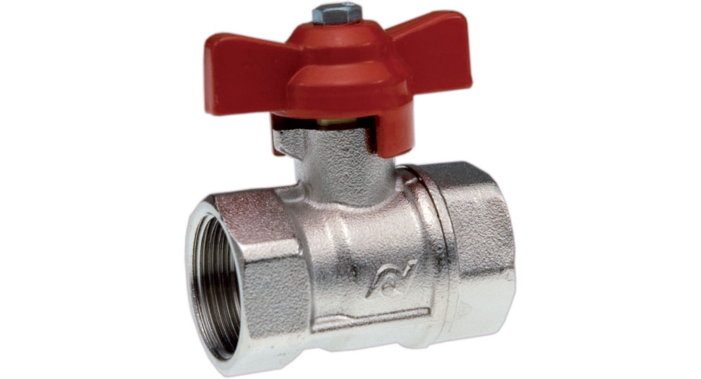 Ball valve reduced bore F.F. with red butterfly handle.