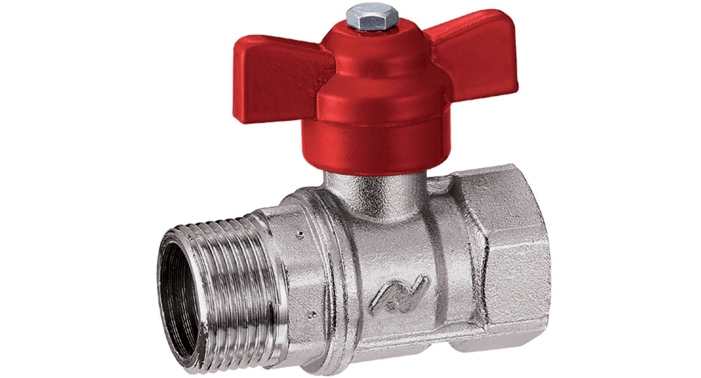 Ball valve reduced bore M.F. with red butterfly handle.