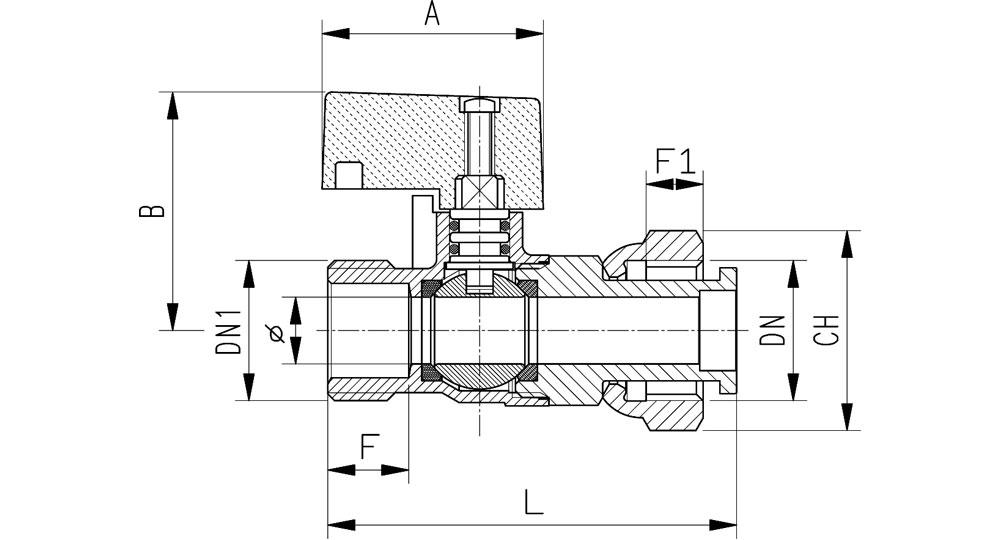 Ball valve M.F./swivel union nutwith black plastic handle.