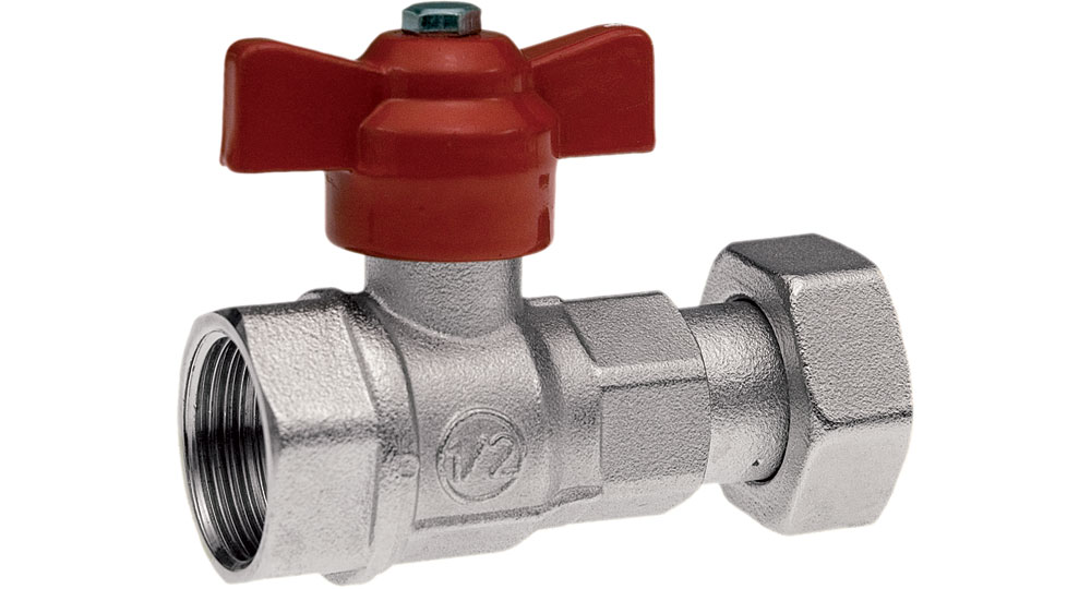 Ball valve for counter meters F.F./swivel union nut with red butterfly handle.