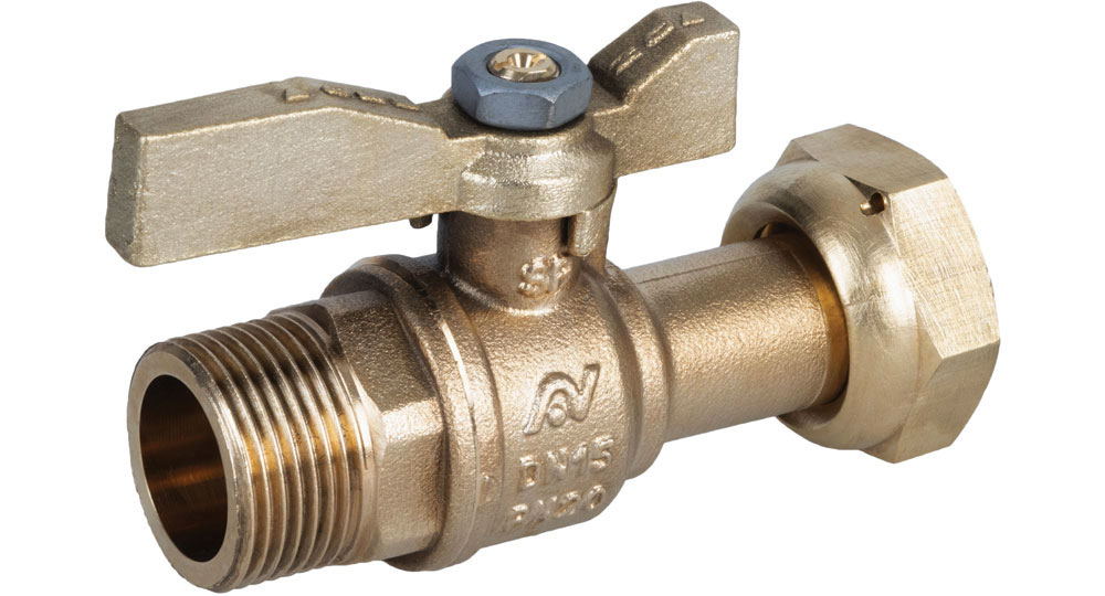 Ball valve for counter meters M.F./swivel union nut  with brass handle. Ecological brass CW510L