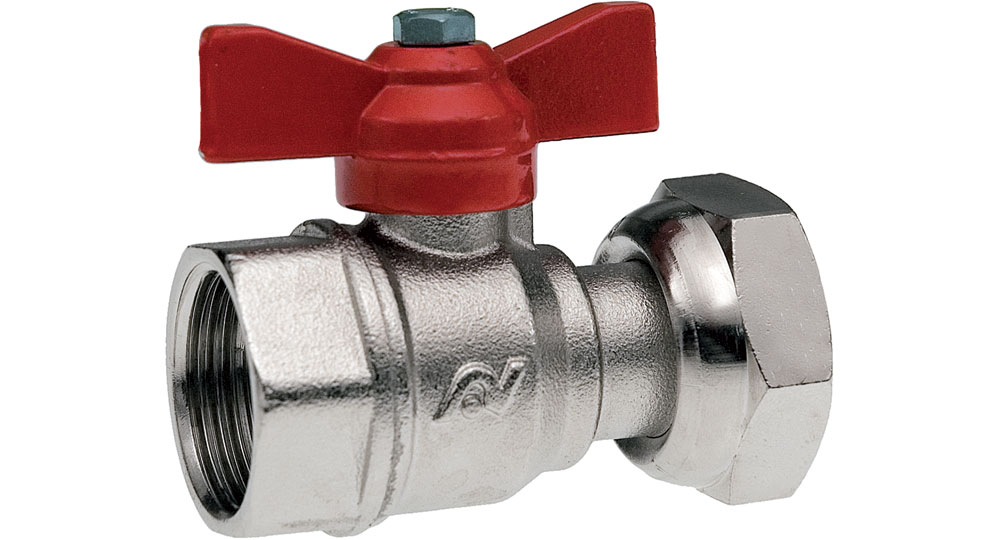 Ball valve for counter meters  F.F./drilled swivel union nut  with red butterfly handle.