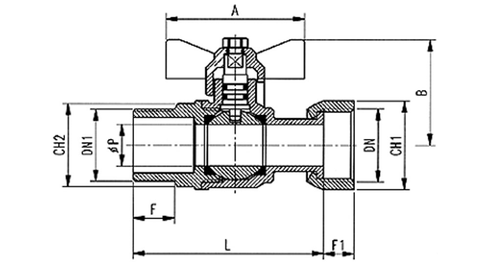 Ball valve for gas meter M.F./swivel union nut with butterfly handle.