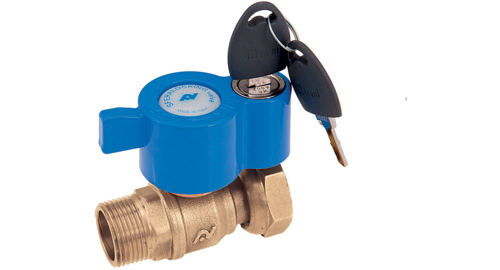 Ball valve for counter meters M.F./swivel union nut with locking handle.
