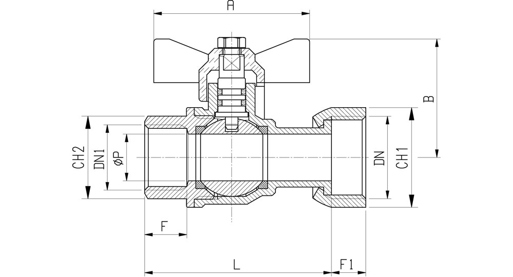 Ball valve for gas meter F.F./swivel union nut with butterfly handle.