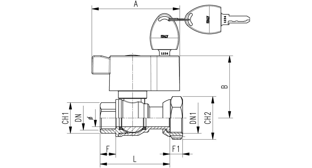 Ball valve for counter meters F.F./swivel union nut with locking handle.
