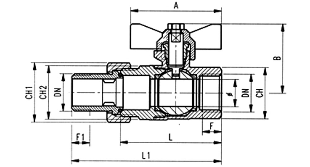 Ball valve full bore F. with male connection O-Ring sealing.
