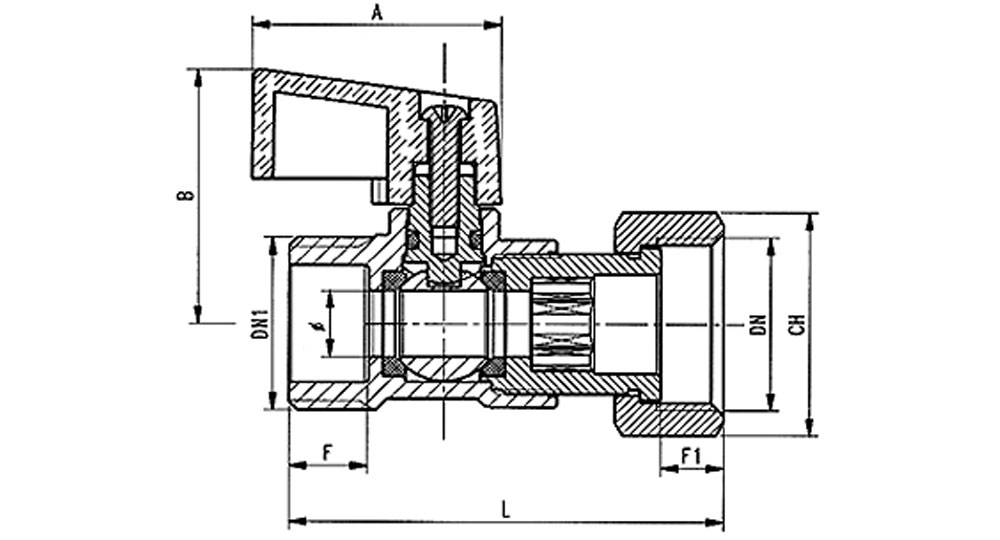 Ball valve M.F./swivel union nutwith black plastic lever.