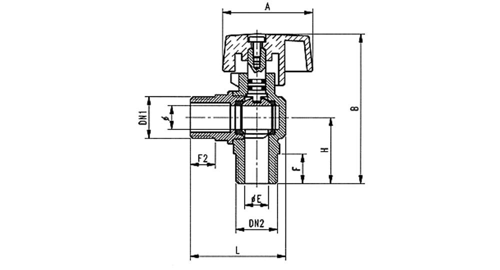 Angled ball valve for gas M.M. for steel flexiblehose EN 14800:2007.