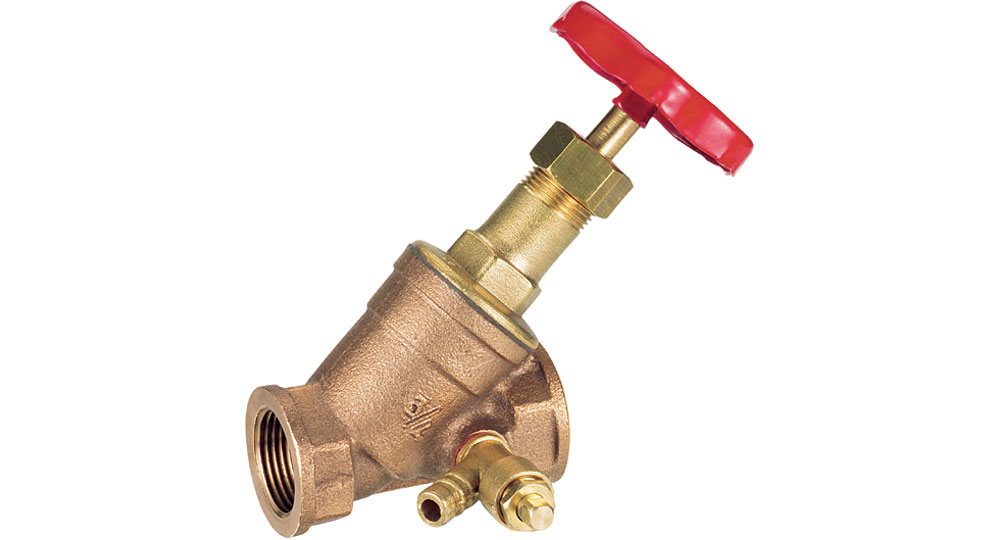 """Bronze """"Y"""" valve with spring check, plug and drain cock PN 16."""