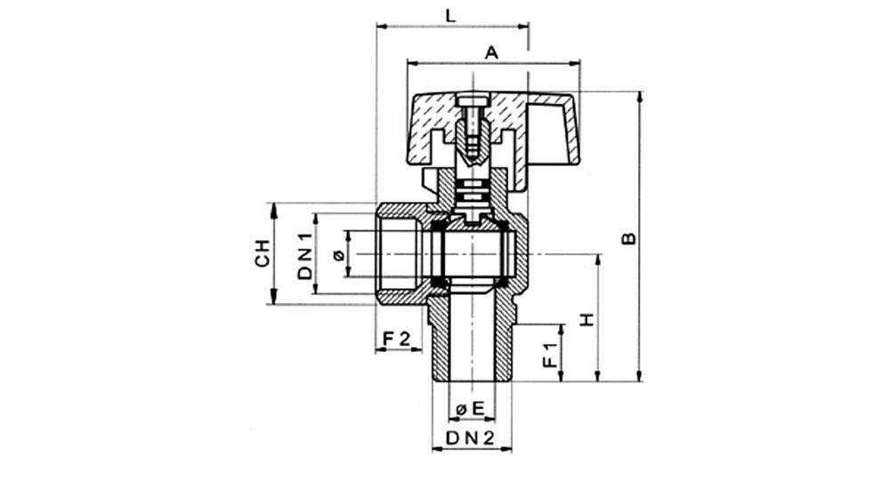 Angled ball valve for gas M.F. for steel flexible hose EN 14800:2007.