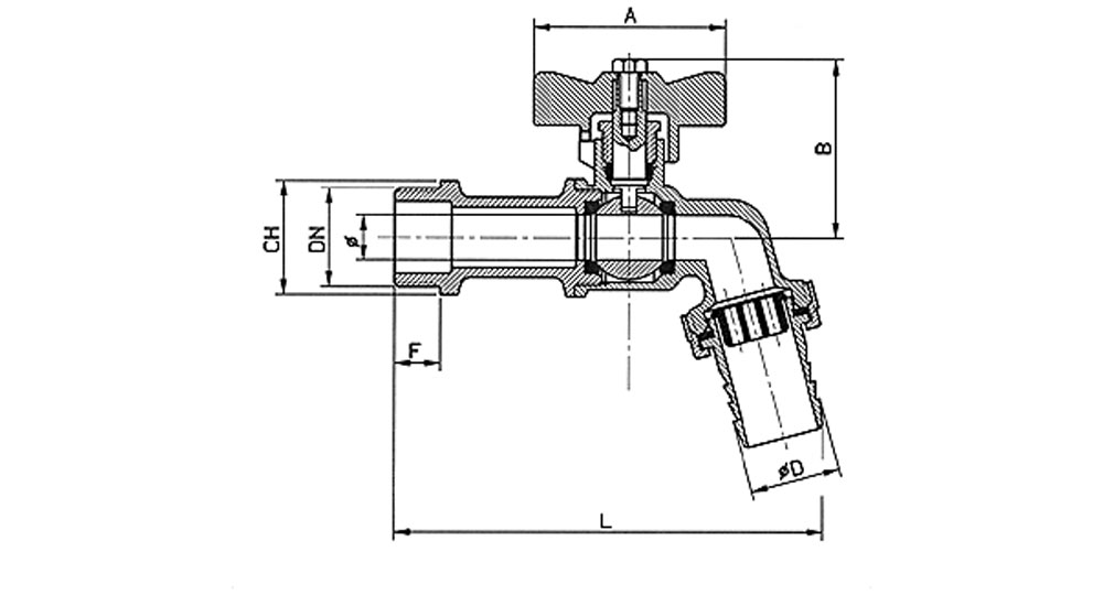 Bibcock ball valve with hose union - red butterfly handle. HEAVY DESIGN.