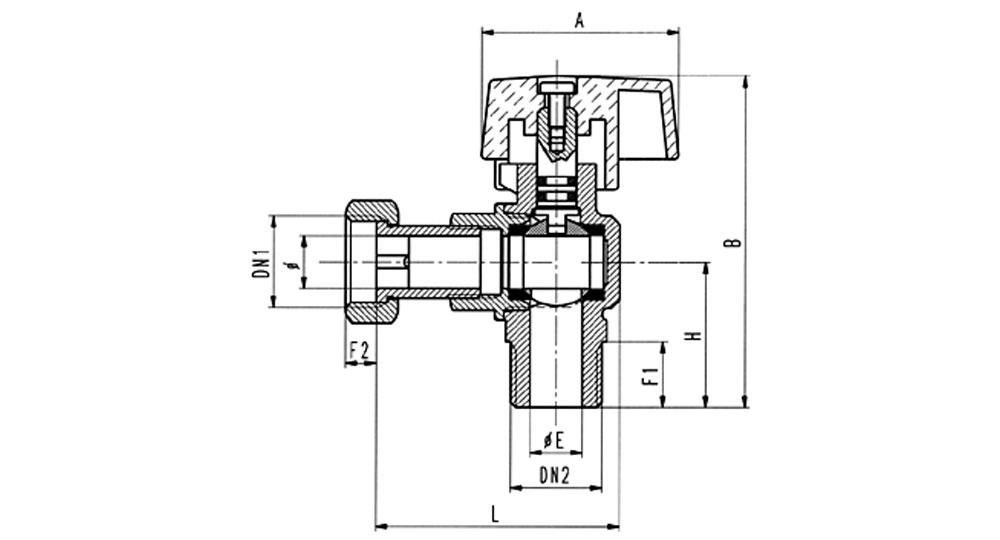 Angled ball valve for gas M.F./swivel union nut for steel flexible hose EN 14800:2007.