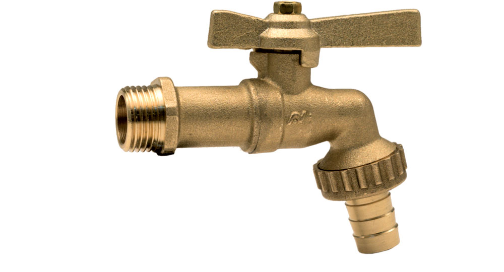 Bibcock ball valve with hose union -brass butterfly handle.
