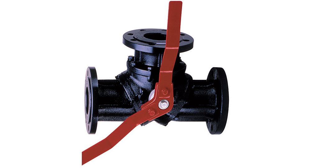 "Three ways flanged ball valve PN16 - cast iron.  ""L"" drilling."