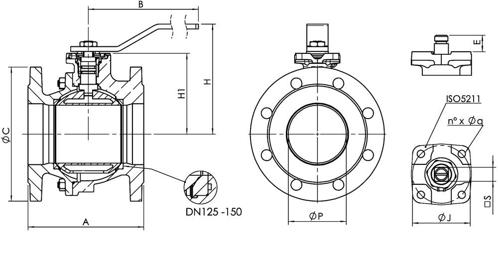 Flanged bronze/aluminium ball valve PN16.