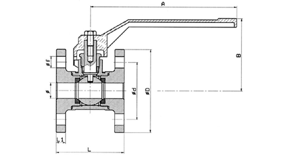 Flanged brass ball valve PN10/16.
