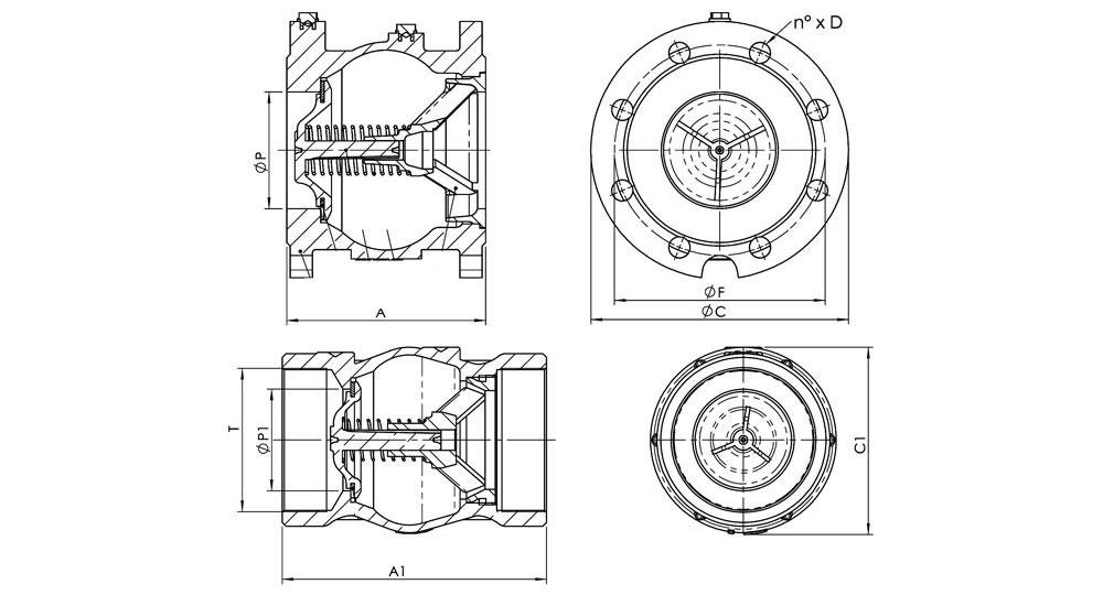 Flanged cast iron spring check valve PN16. (295/RF) Cast iron spring check valve PN16. (295/R)