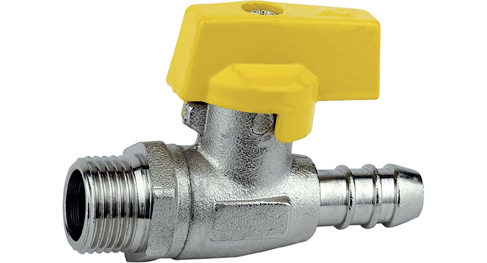Gas straight cut off valve M., hose carrier for pipe with inside ø 13 mm (UNI 7140).
