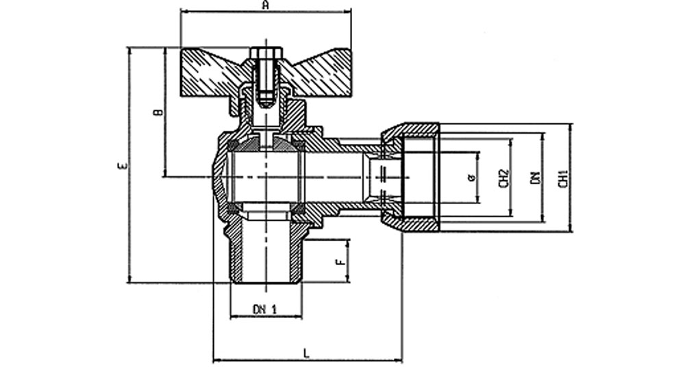 Angled ball valve for counter meters M.F./swivel union nut with red butterfly handle.