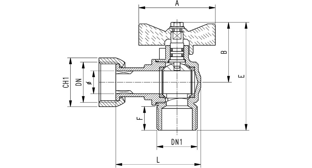 Angled Ball valve for gas M.F./swivel union nut with butterfly handle.