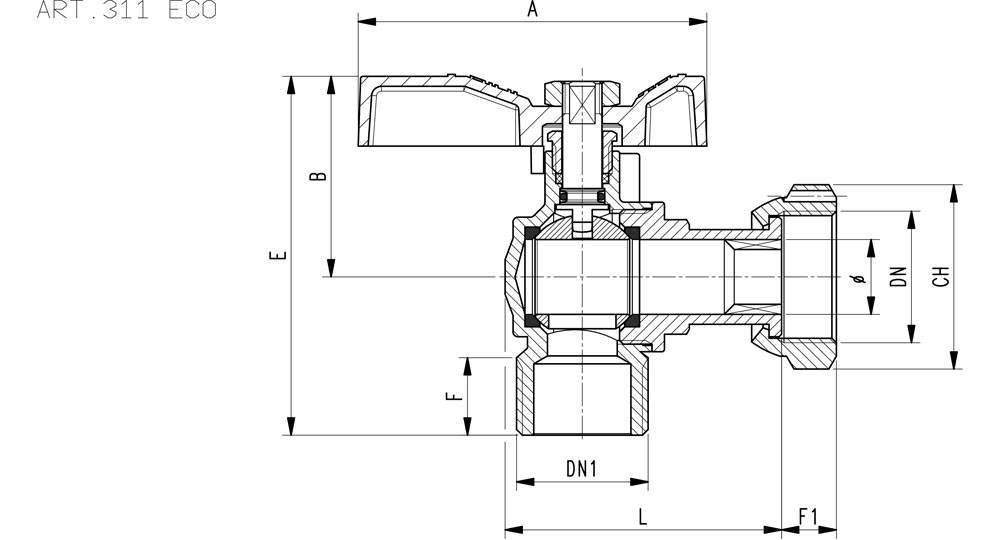 Angled ball valve for counter meters M.F./swivel union nut  with brass handle. Ecological brass CW510L
