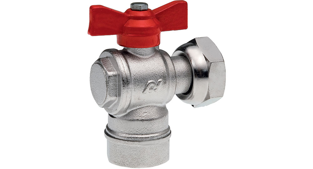 Angled ball valve for counter meters F.F./swivel union nut with red butterfly handle.