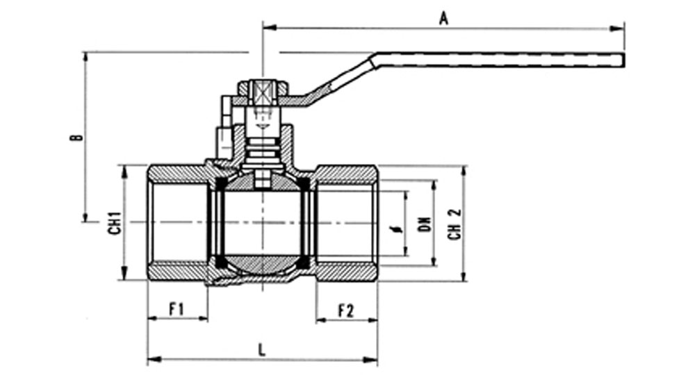 Ball valve for gas F.F. with handle (screwed iron). EN10226 THREAD