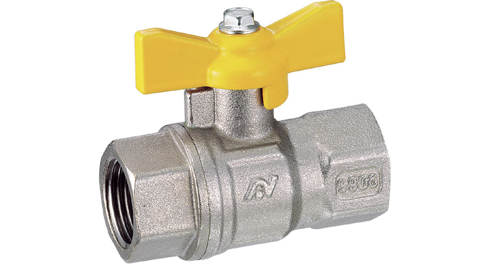 Ball valve for gasfull bore F.F. with butterfly handle. EN10226 THREAD