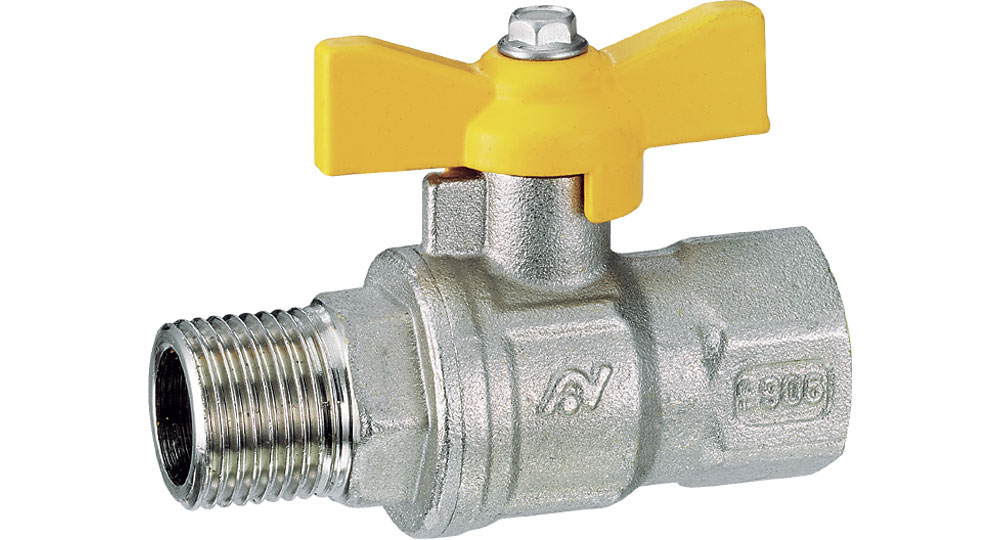 Ball valve for gasfull bore M.F. with butterfly handle. EN10226 THREAD