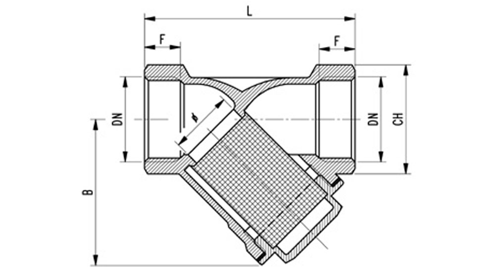 Bronze Y type strainer F.F. Stainless steel mesh filter 280 µm (see table p.111).