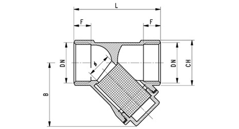 Brass Y type strainer F.F. Stainless steel mesh filter 280 µm.