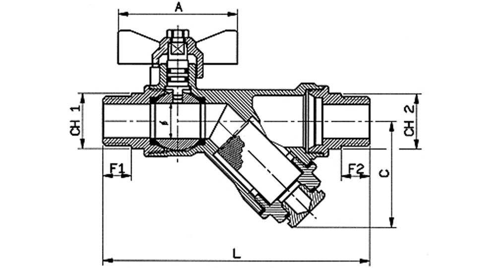 DZR brass EN12165 CW602 combined ball valve M.M. with built-in strainer. WITH DRAIN PLUG.