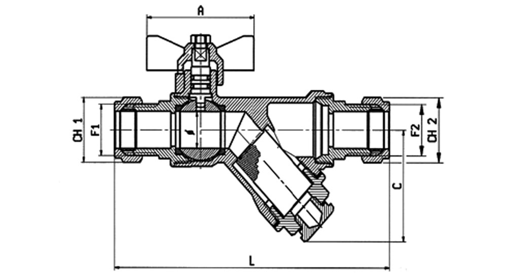 DZR brass EN12165 CW602 combined ball valve compression ends with built-in strainer. WITH DRAIN PLUG.