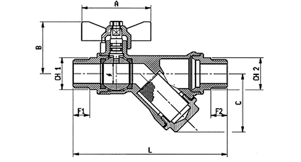 DZR brass EN12165 CW602 combined ball valve M.M. with built-in strainer.