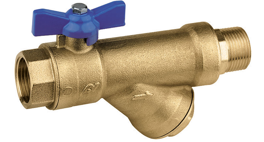 DZR brassEN12165 CW602 combined ball valve M.F. with built-in strainer.