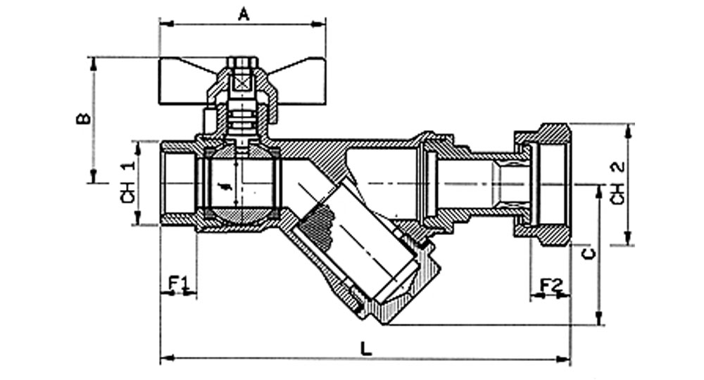 DZR brass EN12165 CW602 combined ball valve F.F./swivel union nut with built-in strainer.