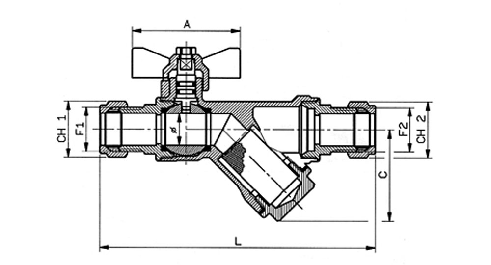 DZR brassEN12165 CW602 combined ball valve compression ends with built-in strainer.