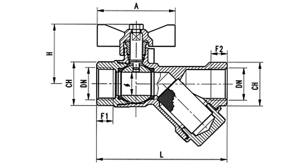 Brass EN12165 CW617 combined ball valve F.F. with built-in strainer.