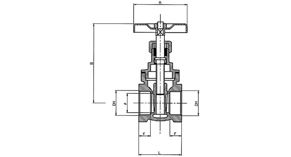 Bronze gate valve PN 16.
