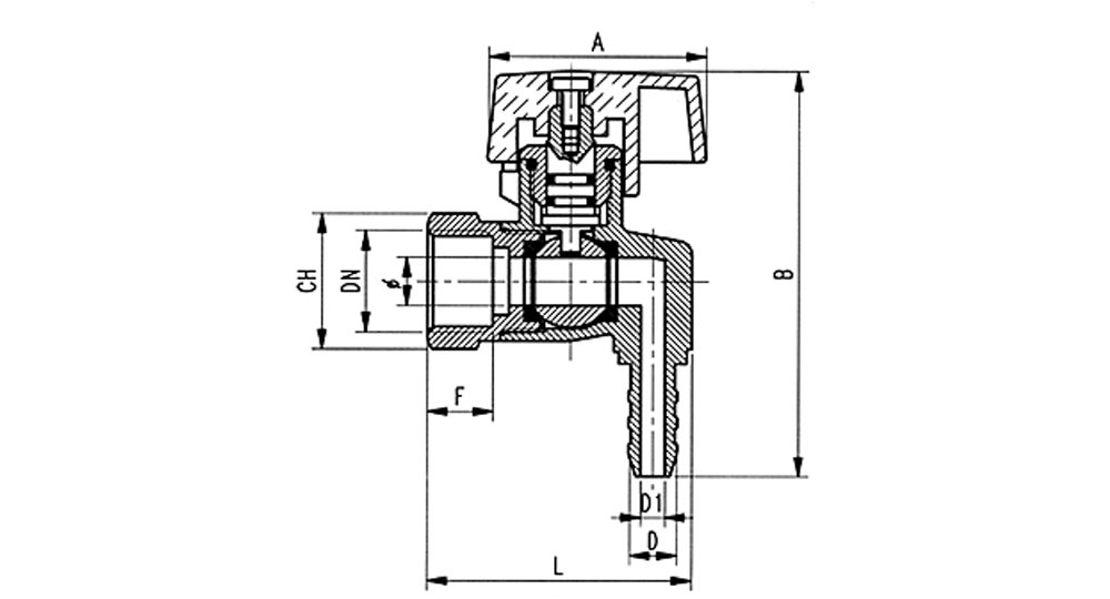 Liquid gas square cut off valve F.,hose carrier for pipe with inside ø 8 mm (UNI 7140).