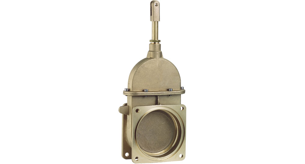 Hydraulic plunger gate valve with two flanges.