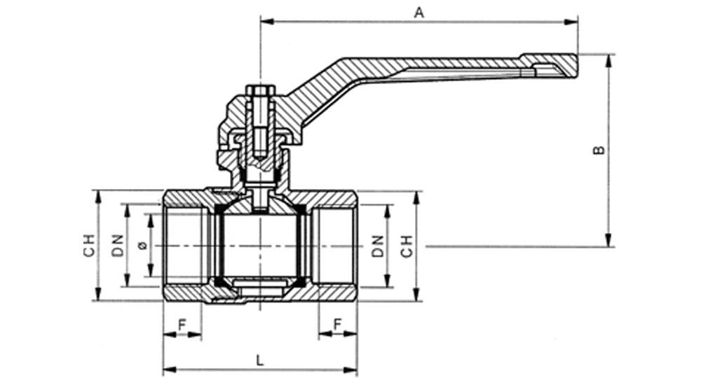 Ball valve full bore F.F. with red aluminium lever handle.