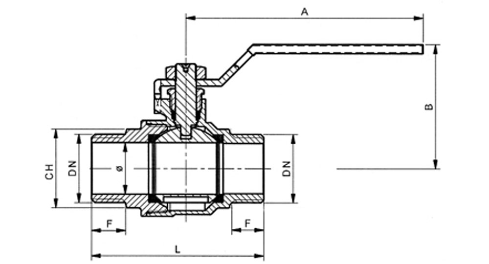 Ball valve full bore M.M. with red handle (screwed iron).