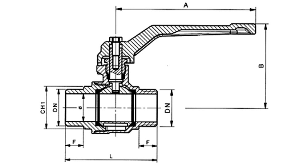 Ball valve full bore M.M. with red aluminium lever handle.