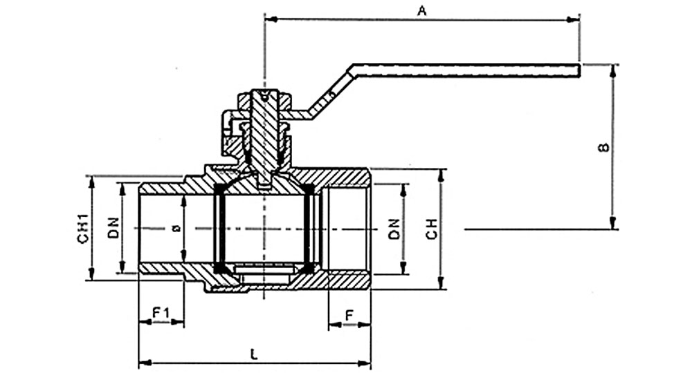 Ball valve full bore M.F. with red handle (screwed iron).