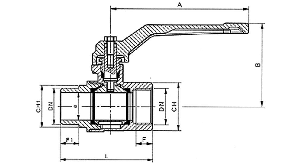 Ball valve full bore M.F. with red aluminium lever handle.