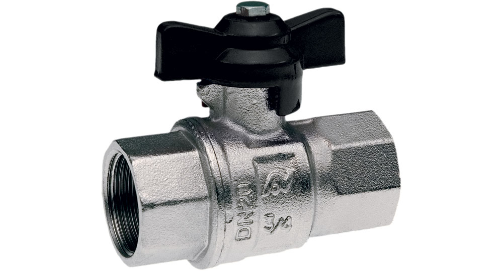 Industrial ball valve full bore F.F.with black butterfly handle. NPT THREAD