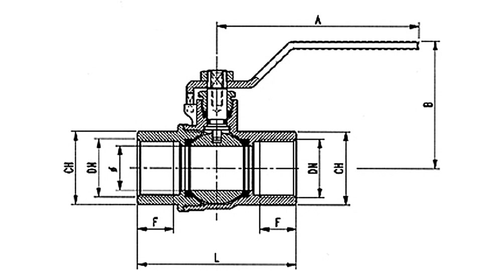 Industrial ball valve full bore F.F. with white handle (screwed iron) for oxygen. EN10226 THREAD
