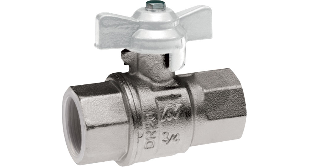 Industrial ball valve full bore F.F. with white butterfly handle for oxygen. EN10226 THREAD